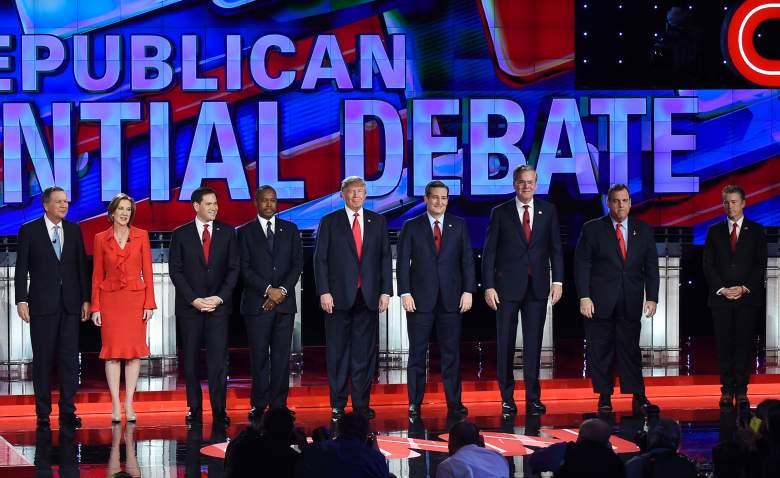 """El campo """"principal"""" del Partido Republicano en el debate de Las Vegas. (Getty)"""