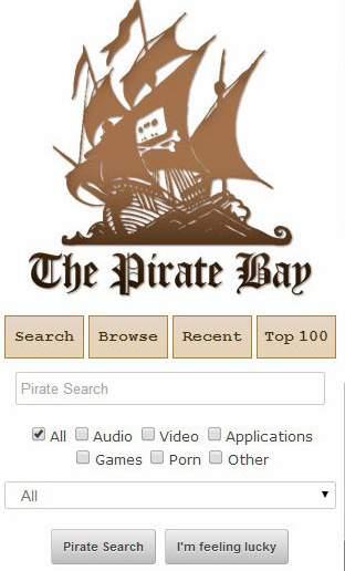 La página de inicio de TheMobileBay era más simple que el sitio web regular de Pirate Bay. (TheMobileBay)