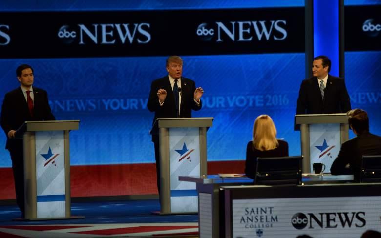 GOP Candidatos presidenciales Donald principales Trump, Ted Cruz y Marco Rubio en el anterior debate de ABC News. (Getty)
