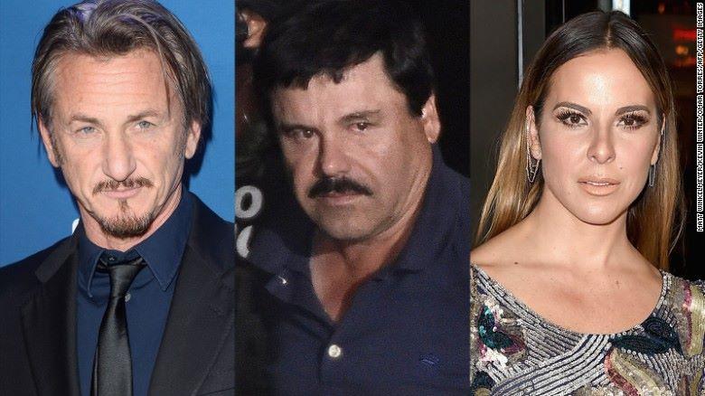 Sean Penn (izq. a der.), El Chapo y Kate del Castillo.