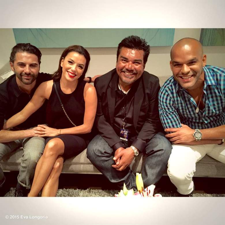 Pepe Bastón (izq. a der), Eva Longoria, George López y Amaury Nolasco. (Eva Longoria/Facebook)
