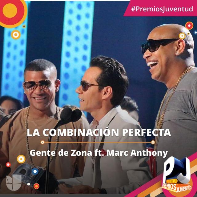Marc Anthony junto a Gente de Zona. (Faceboƒok)