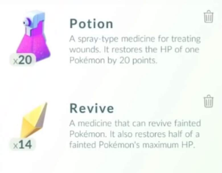 que son revives, que son potions en pokemon go