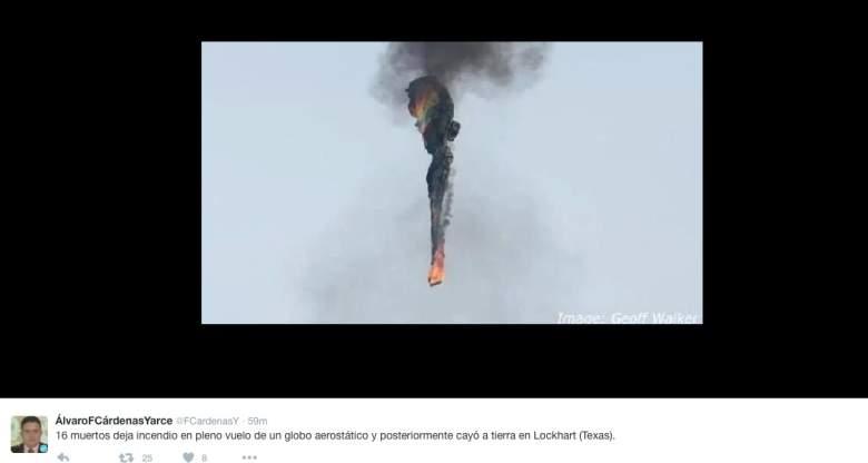Autoridades confirman que 16 personas murieron en el accidente de globo en Texas. (Twitter)