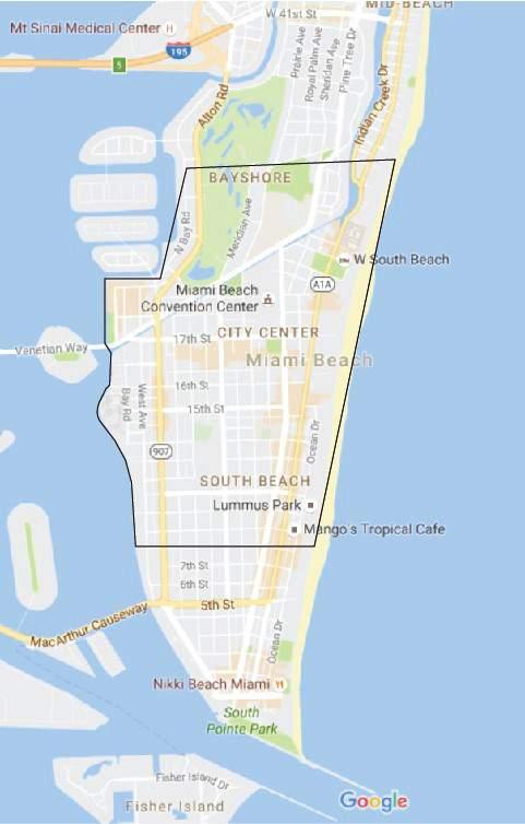 Mapa de la zona infectada de Miami Beach. (Departamento de Salud de Florida)