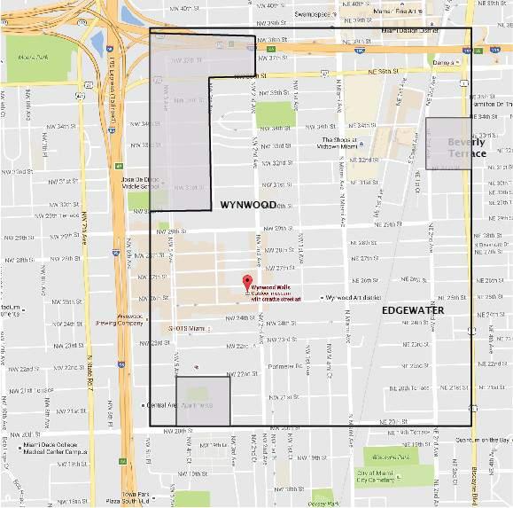 El Departamento de Salud de Florida habia publicado previamente este mapa que muestra el área de transmisión del Zika en el barrio de Wynwood de Miami. (Departamento de Salud de Florid