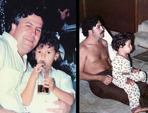 Pablo Escobar con Manuela (izq.) y con Sebastian (der.). (Twitter)