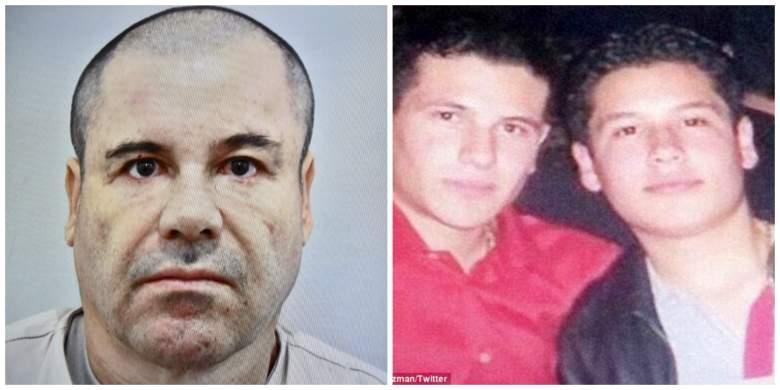 El Chapo (izq. a der.) y sus hijos, Iván Archivaldo y Jesús Alfredo). (Getty/Twitter)