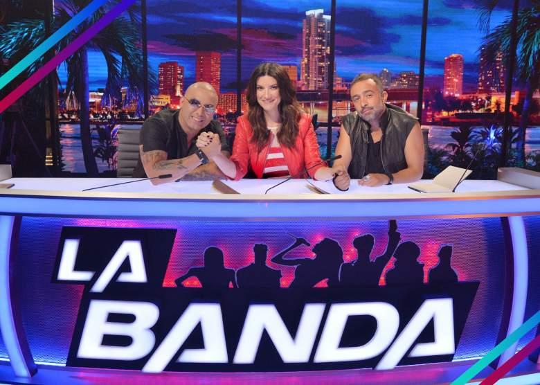 Wisin (izq. a der.), Laura Pausini y Mario Domm son los jueces de 'La Banda 2'. (Facebook)