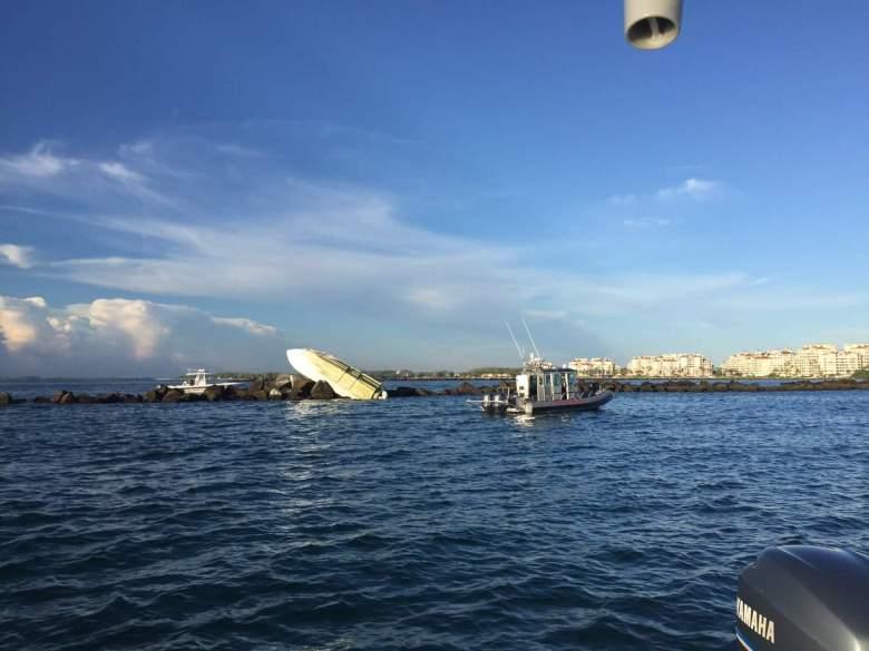 La escena del accidente de bote donde falleció el beisbolista de los Marlins de Miami. (Miami-Dade Fire Rescue)