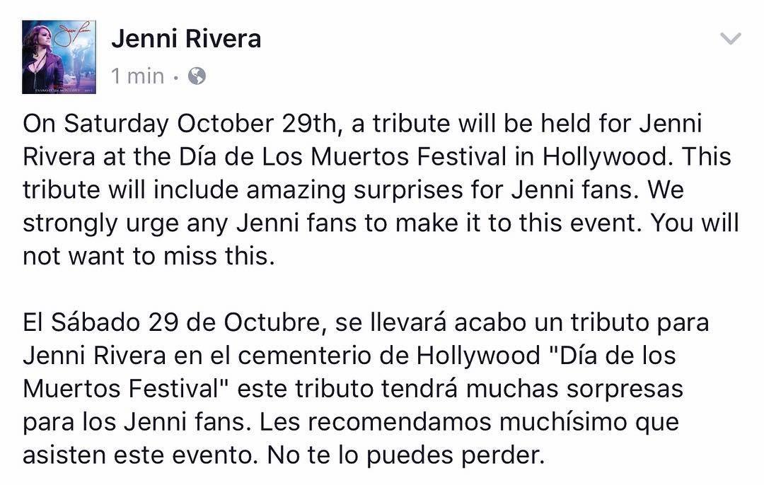 La invitacion posteada en la cuenta de Instagram Jenni Rivera. (Instagram)