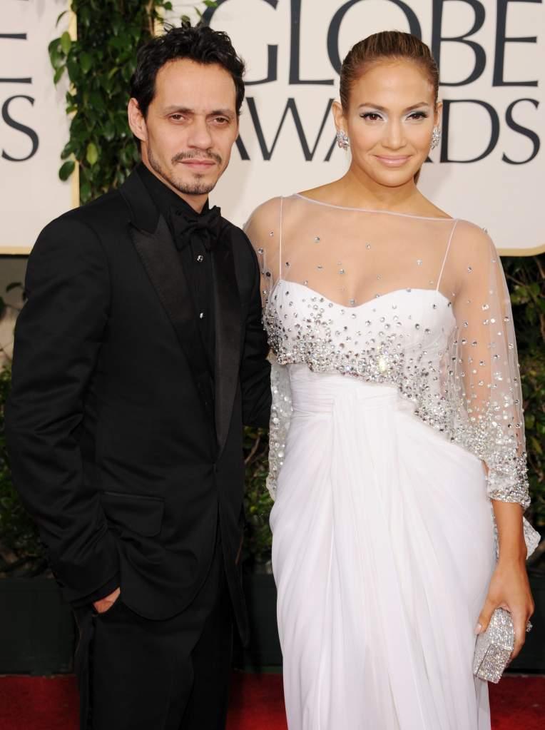 Marc Anthony y Jennifer Lopez llegando a la 68th Annual Golden Globe Awardsen el 20111 (Photo by Jason Merritt/Getty Images)