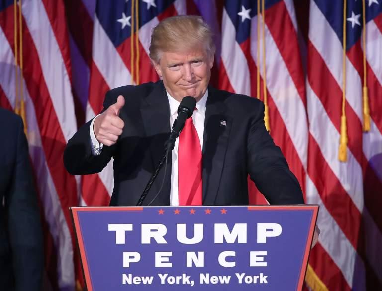 Donald Trump da su discurso de aceptación después de ser elegido presidente de los Estados Unidos. (Getty)