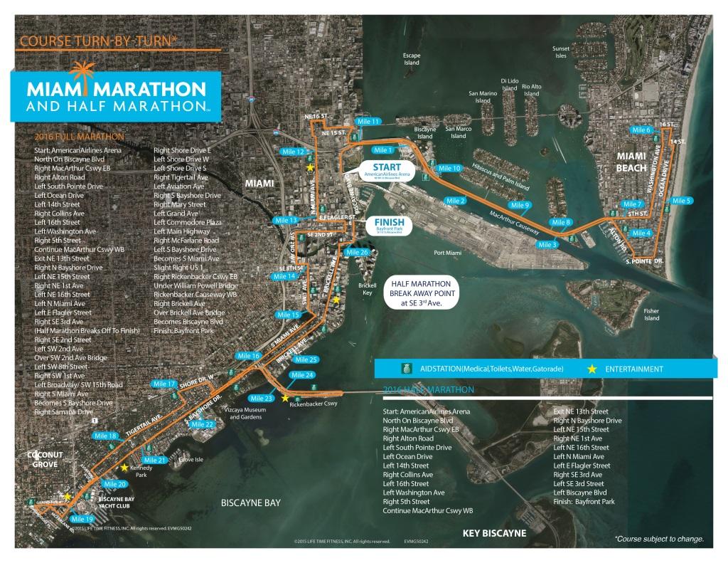 El recorrido completo que harán los corredores por la ciudad de Miami. (TheMiamimarathon.com)
