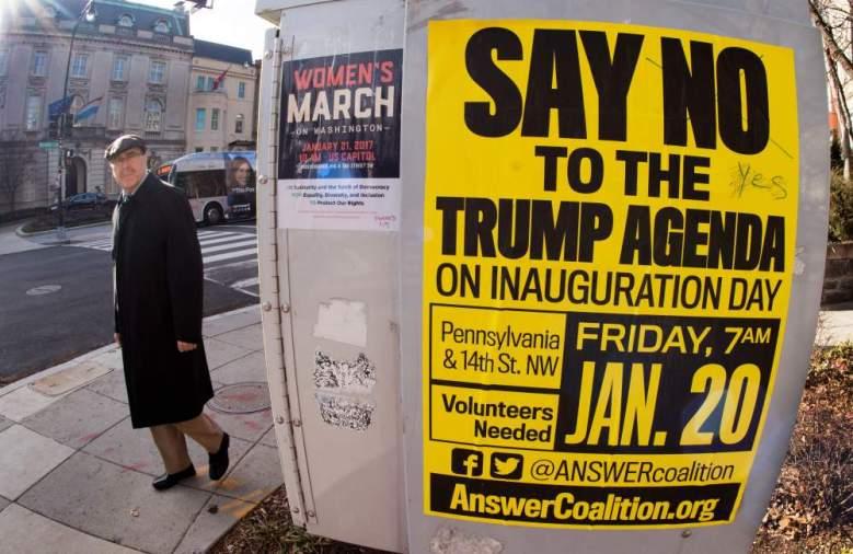 Los carteles que anuncian las distintas protestas en Whashington, D.C. (Getty Images)