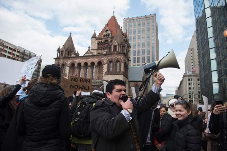 Los manifestadores en Boston en enero. (Getty)