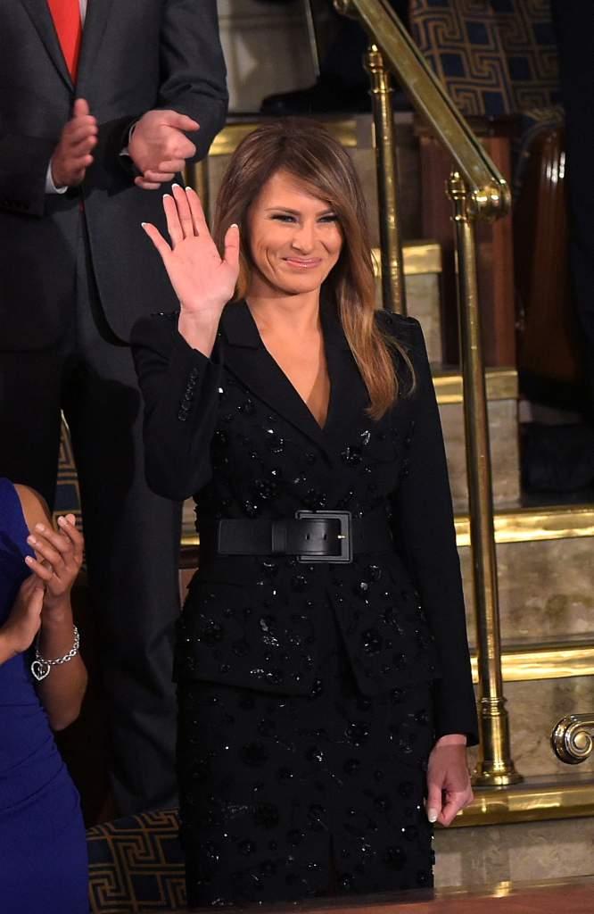 La primera dama Melania Trump estuvo presente en el primer discurso de su esposa, el presidente Donald Trump, ante el Congreso de Estados Unidos, 28 de febrero de 2017. (Getty)