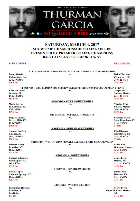 Thurman vs. Garcia, Thurman vs. Garcia pesos, Thurman vs. Garcia pelea, boxeo