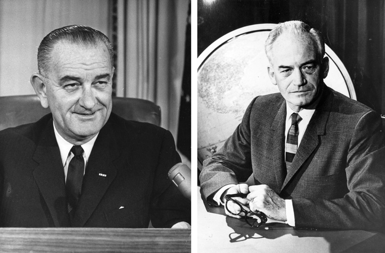 Presidential Candidates Lyndon Baines Johnson (L) and Barry Goldwater. (Central Press/Getty Images)