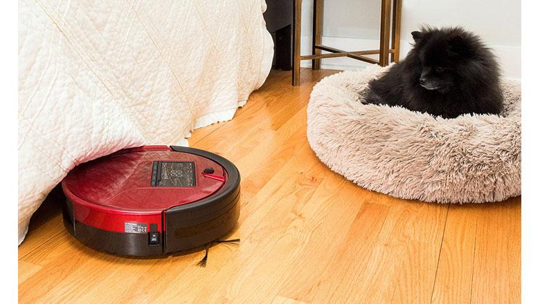 LOVIVER Robot Aspirador de Limpieza Anti-ca/ídas Filtro HEPA Adecuado para Pelo de Mascotas Alfombras Pisos Duros Blanco