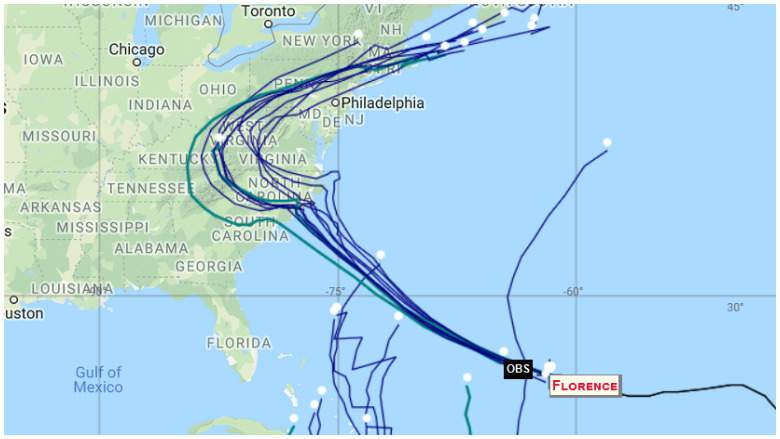 Últimos modelos de spaghetti de Hurricane Florence.