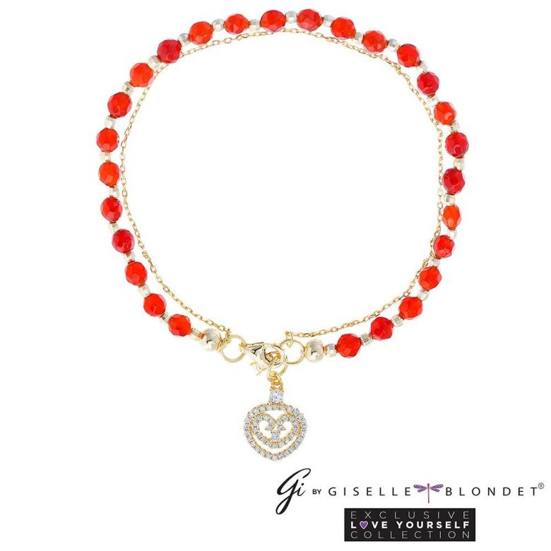 ¿Dónde comprar los accesorios de Giselle Blondet para Nuestra Belleza Latina? Pulsera roja con el corazón