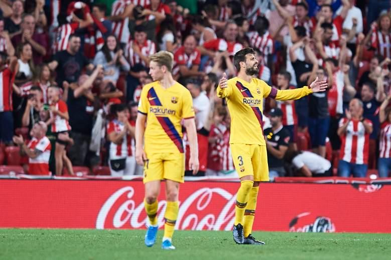 Piqué regañó a Dembelé tras derrota del Barcelona