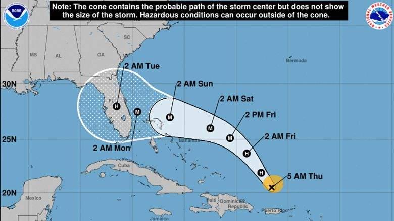 Huracan Dorian: Mapa de Florida que muestran los últimos modelos europeos de GFS