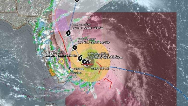 Huracán Dorian Florida-3 sept: Mapas, Trayectoria y rastreadores en vivo