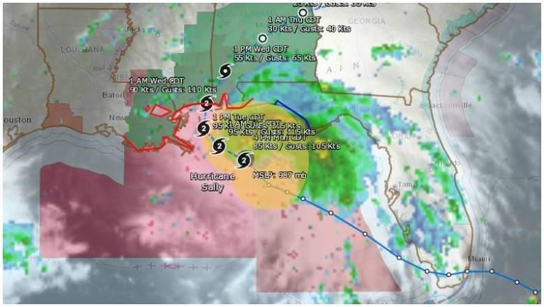 Trayectoria proyectada del huracán Sally