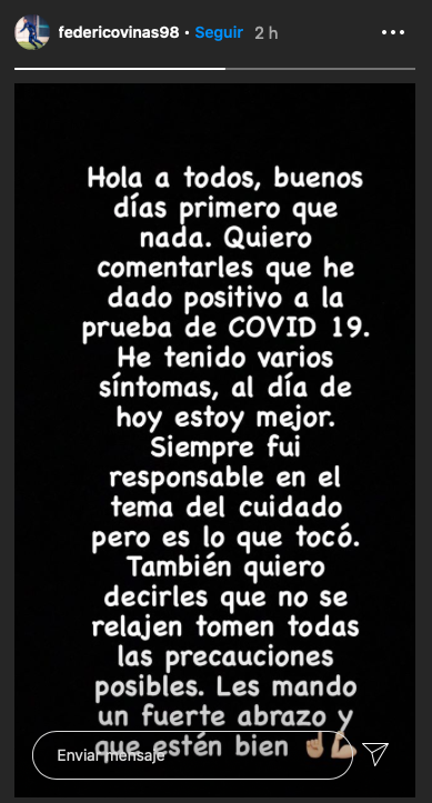 Captura de pantalla Instagram @federicovinas98