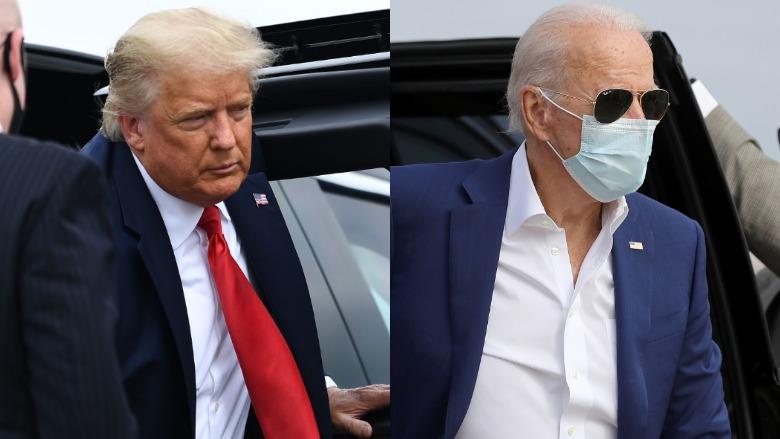 Los candidatos presidenciales Donald Trump y Joe Biden salen de sus respectivos vehículos mientras hacen campaña en Florida.