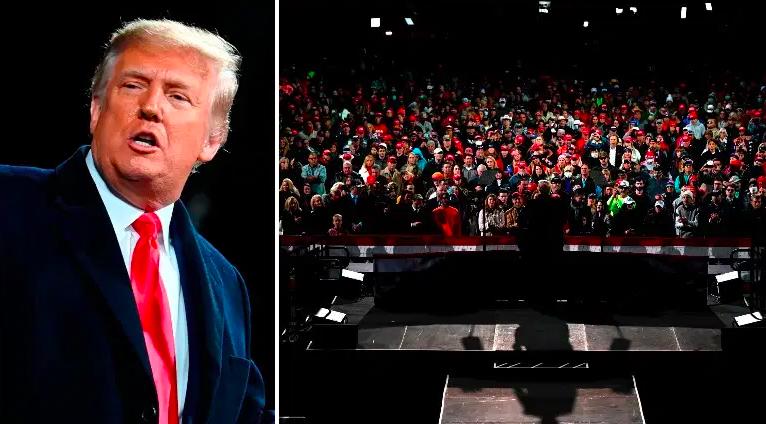 Trump y la multitud en su mitin de Georgia.