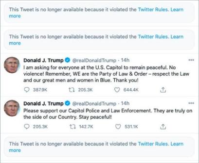 Mensajes de Donald Trump, antes de que su cuenta de Twitter fuera suspendida
