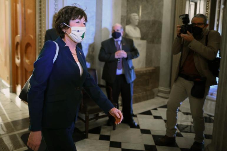 La senadora republicana Susan Collins, de Maine, en enero de 2021.
