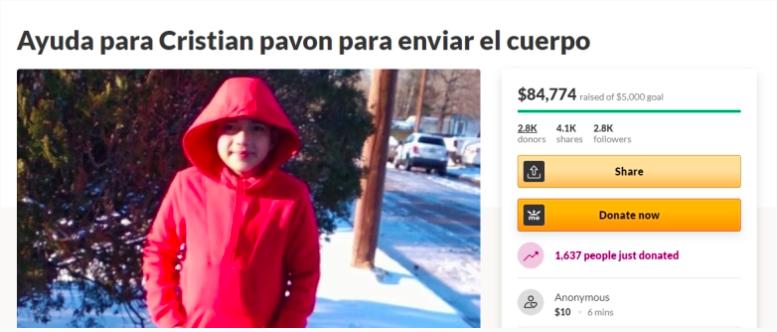Cristian Pavon murió congelado en la casa móvil de su familia en Conroe, Texas.