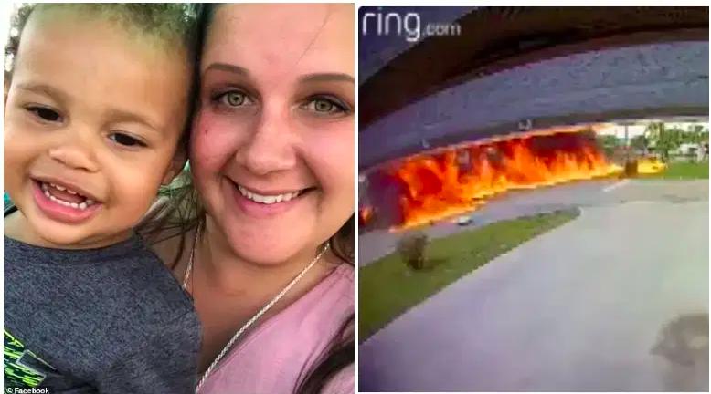Taylor Bishop, de 4 años, y su madre, Megan Bishop. / Un video de Ring muestra un avión chocando contra una camioneta en la que estaban los Bishop el lunes 15 de marzo de 2021, donde falleció Taylor y resultó herida Megan Bishop.