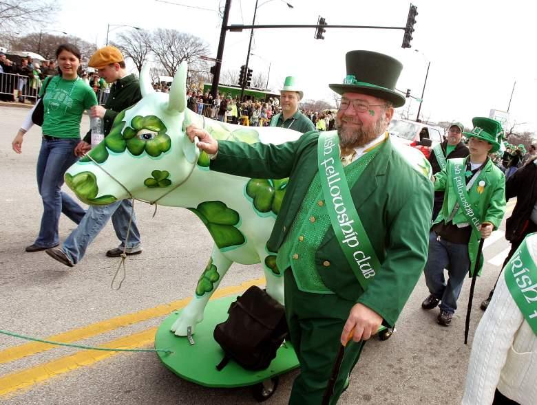 """Un miembro del Irish Fellowship Club camina con una vaca """"irlandesa"""" de """"Cows on Parade"""" de Chicago en el desfile del Día de San Patricio el 11 de marzo de 2006 en Chicago, Illinois."""