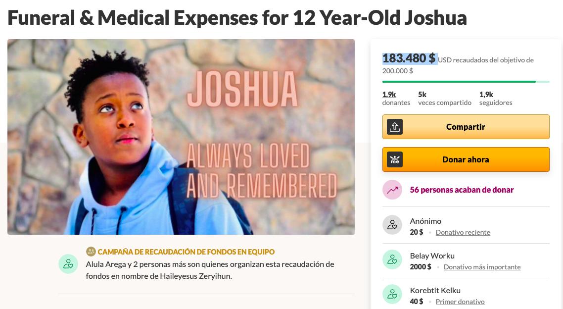 Gastos funerarios y médicos para Joshua de 12 años