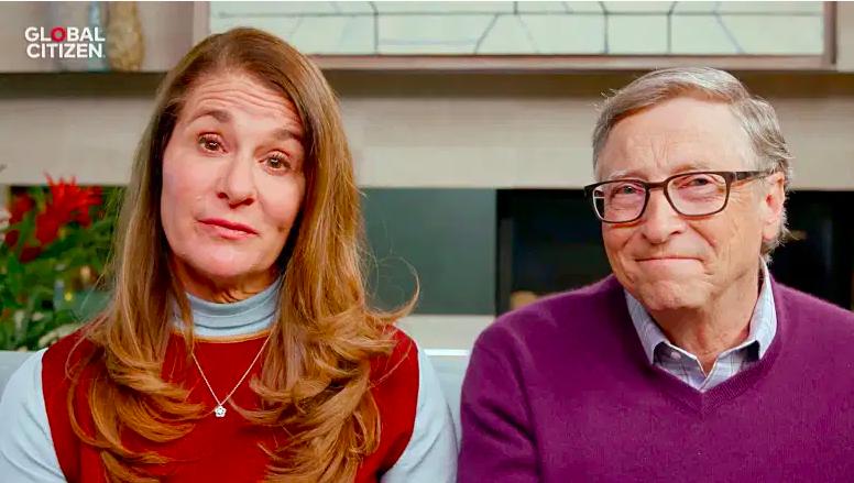 """En esta captura de pantalla, Melinda Gates y Bill Gates hablan durante """"Un mundo: Juntos en casa"""" presentado por Global Citizen el 18 de abril de 2020."""