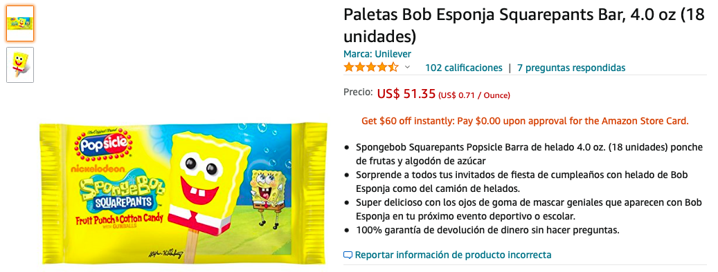 Paletas Bob Esponja Squarepants Bar, 4.0 oz (18 unidades)