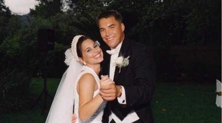 Laci Peterson y Scott Peterson el día de su boda.