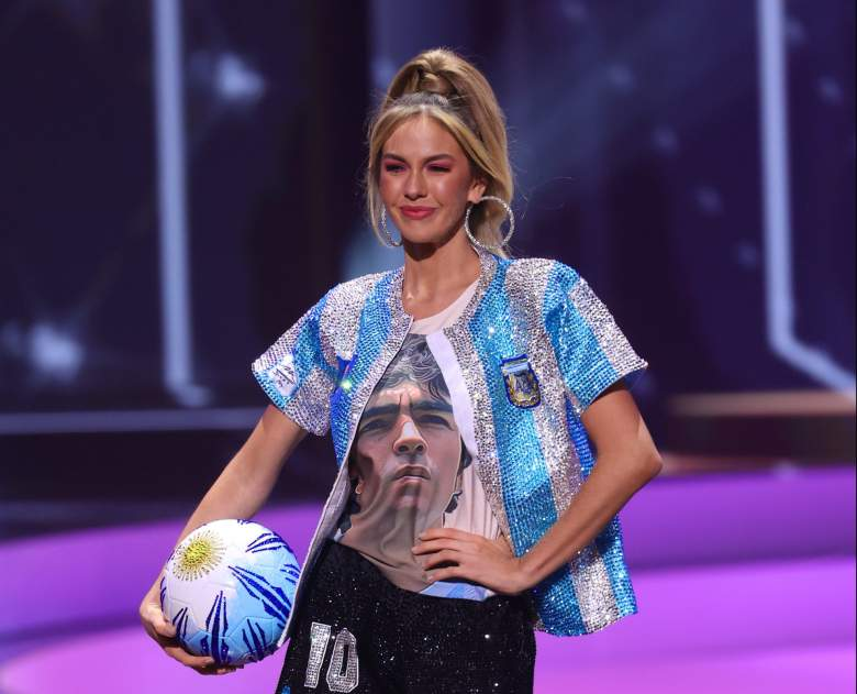 Miss Argentina Alina Akselrad causó polémica con su trajé típico honrando a Maradona