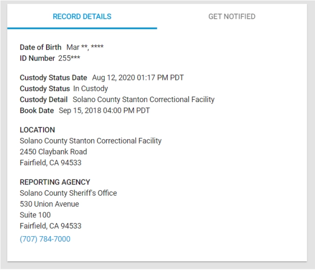 Registros de la cárcel de California de Matthew Muller.