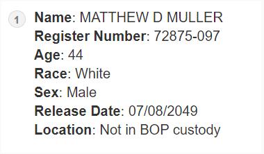 Registros de la prisión federal de Matthew Muller.