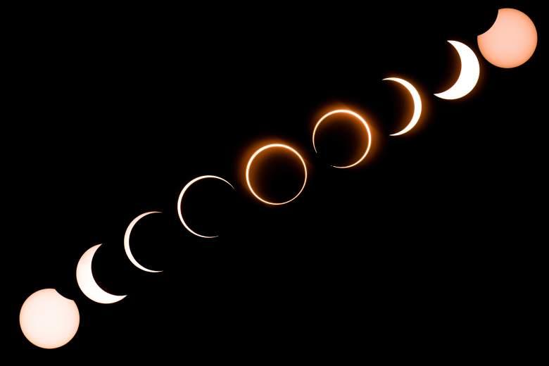 """Esta imagen compuesta muestra la luna mientras se mueve frente al sol en un raro eclipse solar de """"anillo de fuego"""" visto desde Tanjung Piai en Malasia el 26 de diciembre de 2019."""