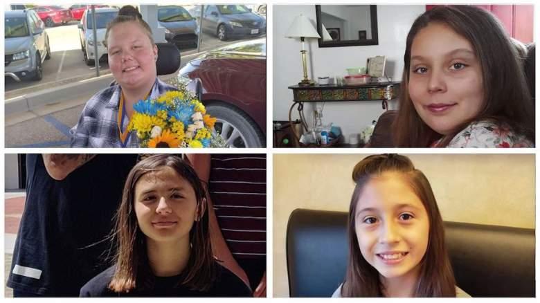 Natalie Coe, de 14 años, (arriba a la izquierda) se encuentra en estado crítico en el hospital luego de un choque y fuga que mató a sus tres amigas: Willow Sánchez de 11 años, Sandra Mizer de 13 años y una niña de 12 años, Daytona Bronas.