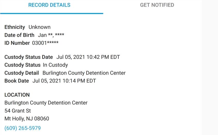 Hoja de reserva de la cárcel de Mathews