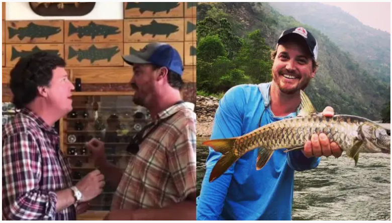 Dan Bailey publicó un video que lo muestra confrontando a Tucker Carlson en una tienda de pesca de Montana.