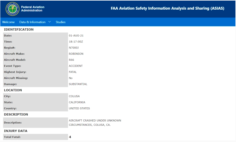 Informe preliminar de la Administración Federal de Aviación sobre el accidente de helicóptero.